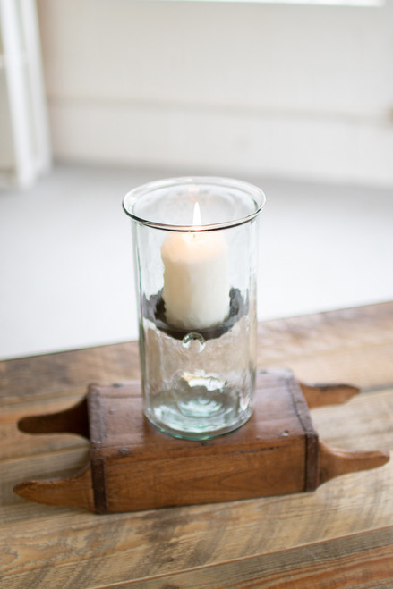 MINI GLASS CANDLE CYLINDERS W RUSTIC INSERT - MEDIUM