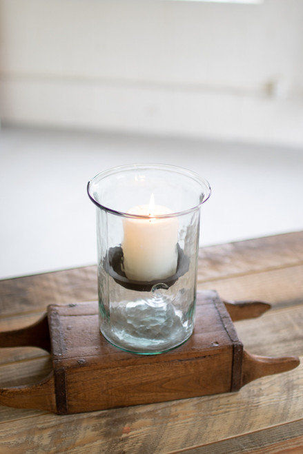 MINI GLASS CANDLE CYLINDERS W RUSTIC INSERT - SMALL
