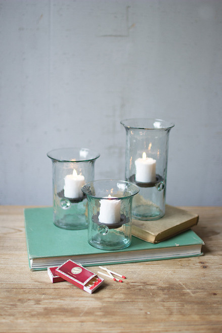 RECYCLED GLASS VOTIVE CYLINDERS-SMALL
