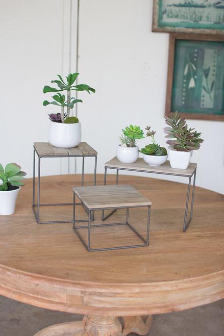 WOOD/METAL TABLE TOP RISER-LARGE