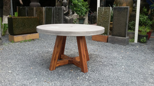 Bridge Round Dining Table w/ Umbrella Hole and Acacia Base