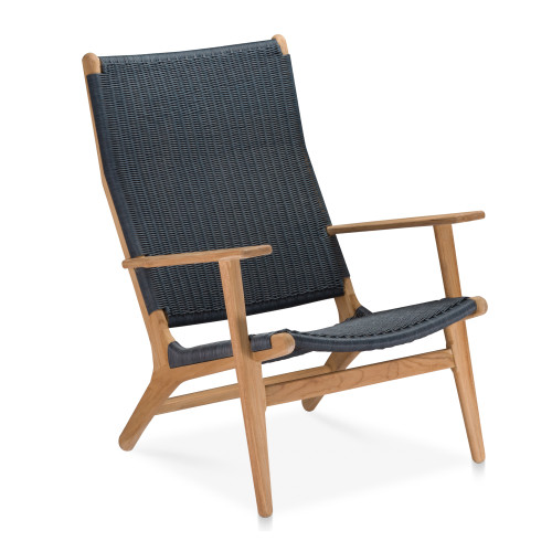 Dover Adirondack Chair - Natural Teak with Navy Wicker