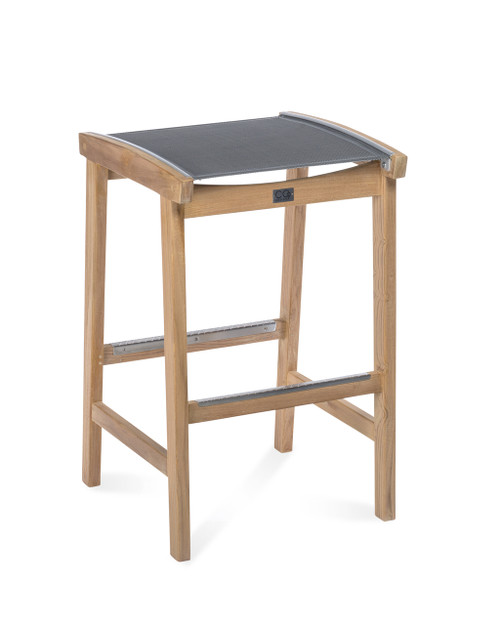 Bayhead Backless Sling Bar Stool, Grey