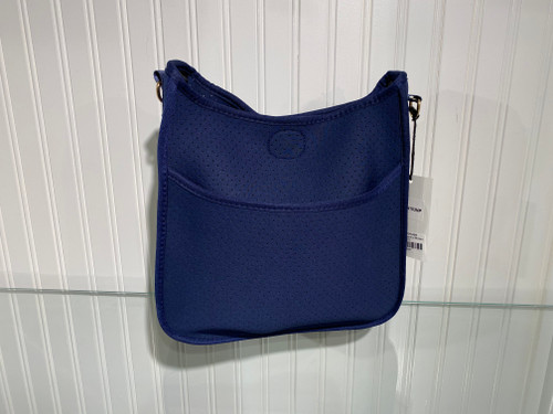 Navy Perforated Neoprene Messenger Bag with Gold Accents - Strap Sold Separately.