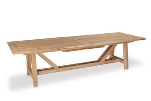 "Lakewood 160"" Extension Dining Table w/ Trestle Base, Natural Teak"