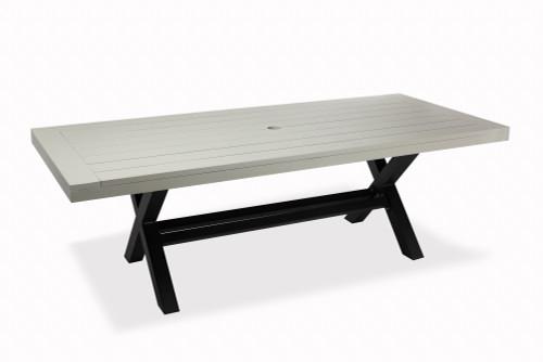 """Lakeside 90"""" Aluminum Dining Table w/ Trestle Base, Grey w/ Black Base"""