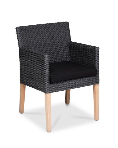 Cape Dining Chair, Slate Wicker w/ Smoke Cushion