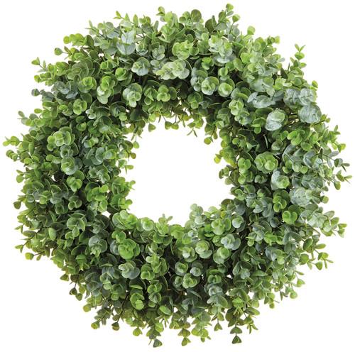 "19"" Plastic Eucalyptus Wreath  Green"