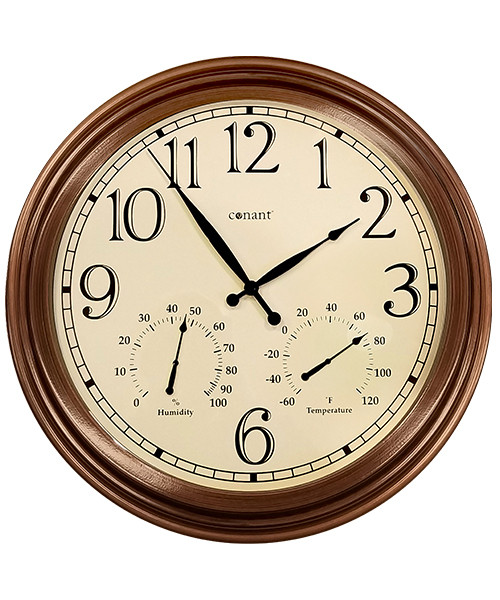 "18"" Wall Clock with Thermometer/Hygrometer (""Antique Copper"" Powder Coated Finish)"