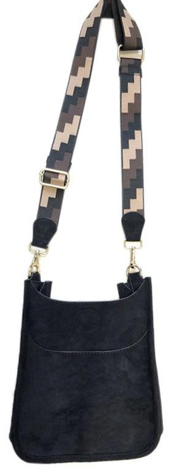 """Black/Brown/Tan Geometric 1.5"""" Bag Strap with Black Faux Suede Accents - Bag Sold Separately"""