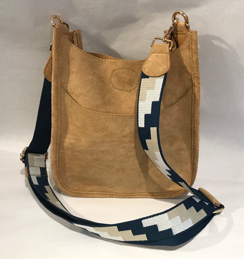 """Blue/Tan/White Geometric 1.5"""" Bag Strap with Faux Camel Suede Accents - Bag Sold Separately"""