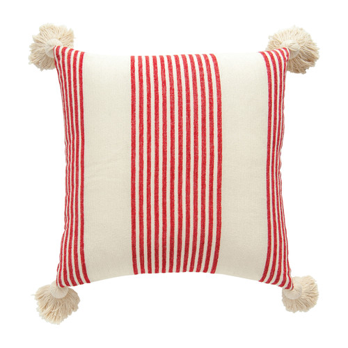 "COTTON & CHENILLE WOVEN STRIPED LUMBAR PILLOW W/ TASSELS, RED 20"" SQUARE"