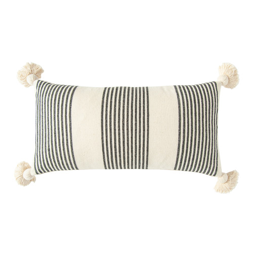"COTTON & CHENILLE WOVEN STRIPED LUMBAR PILLOW W/ TASSELS, BLACK - 28"" x 14"""