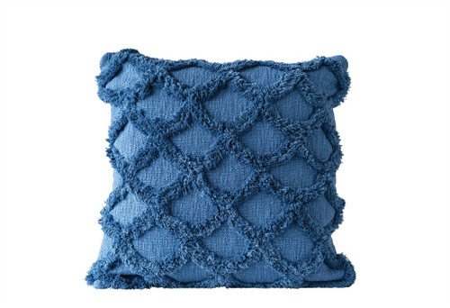 "18"" SQUARE COTTON CHENILLE SCALLOPED PILLOW, DARK BLUE"