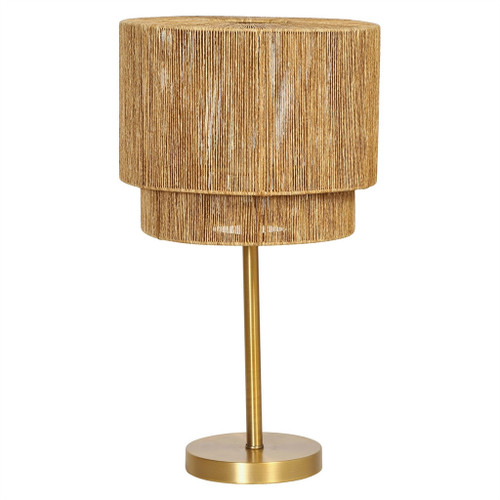 METAL TABLE LAMP W/ PAPER STRING SHADE