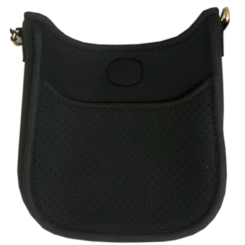 Mini Black Perforated Neoprene Messenger Bag with Gold Accents