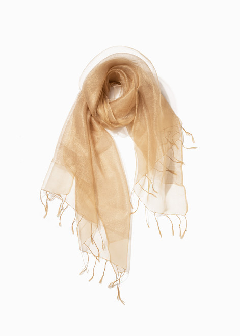 SHIMMER SPARKLE DOUBLE LAYERED SCARF - CHAMPAGNE