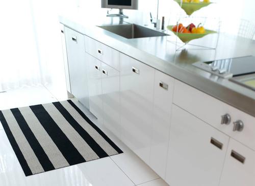 Bold Stripe Shag Doormat 18x28 - BLACK/WHITE
