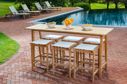 Bayhead High Dining with White Sling Bar Stools