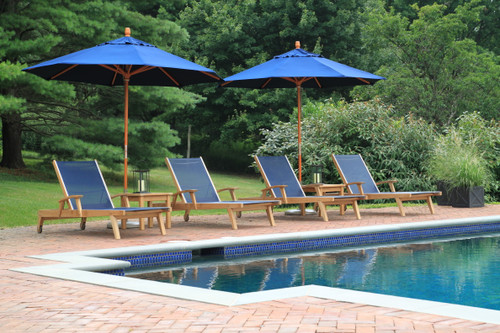 4-Bay-head Chaise Lounge, 2-Umbrellas & Bases, 2- End Tables This Product is currently out of stock and will be available beginning of August.