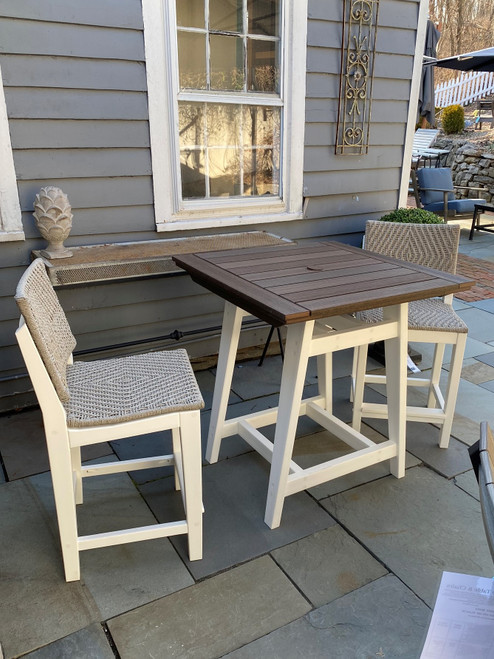 60% OFF MAD SQUARE BALCONY TBL WHITE WITH  WALNUT TOP/2 MAD BALCONY SIDE CHRS/ WHITE /CANVAS DIAMOND