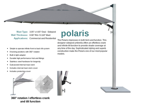 50 % OFF SHADEMAKER POLARIS 13' CANTILEVER SILVER SHADOW BEACON ASH With LARGE STEEL GRID BASE TO HOLD PAVERS, PAVERS NOT INCLUDED