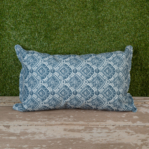 "Blue Kipling Slate Toss Pillow 12"" x 22"" Kidney"