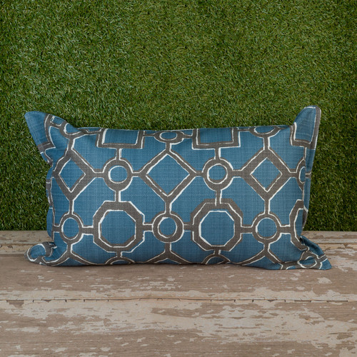 "Blue Brazil Toss Pillow 12"" x 22"" Kidney"