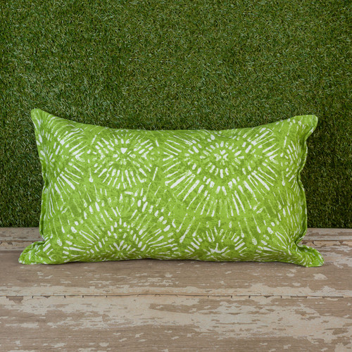 "Green Borneo Toss Pillow 12"" x 22"" Kidney"
