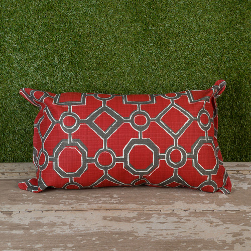 "Red Brazil Toss Pillow 12"" x 22"" Kidney"