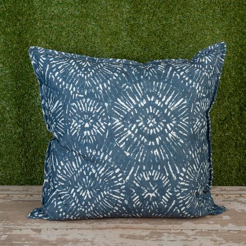 "Blue Borneo Slate Toss Pillow 22"" Square"