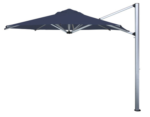 SHADEMAKER SIRIUS 11.5' CANTILEVER SILVER SHADOW POLE  NAVY CANOPY includes EXTRA LARGE STEEL GRID BASE TO HOLD PAVERS, PAVERS NOT INCLUDED