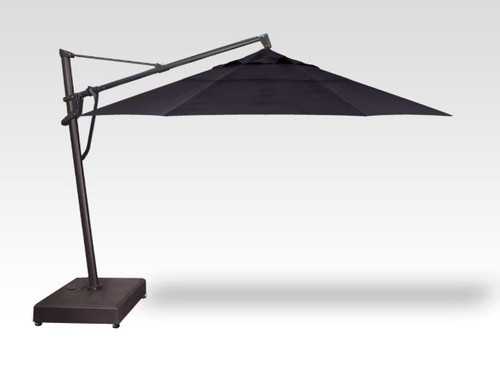 11' CANTILEVER PLUS UMBRELLA - BLACK POLE W/ NAVY FABRIC & ROLLING BASE