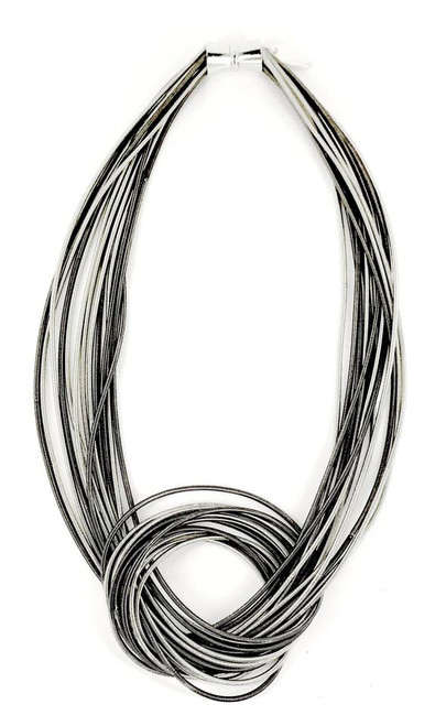 SILVER/SLATE MIX LARGE KNOT PIANO WIRE NECKLACE