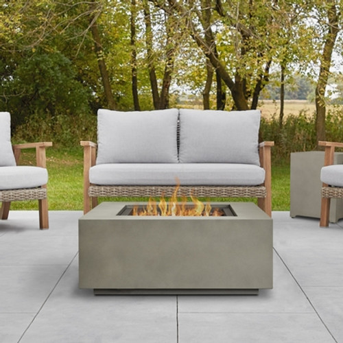 Square Steel Gas Fire Table with Metal Lid - Mist Gray