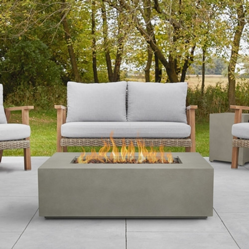 "Rectangular Steel Gas Fire Table 42"" Rectangular - Mist Gray"