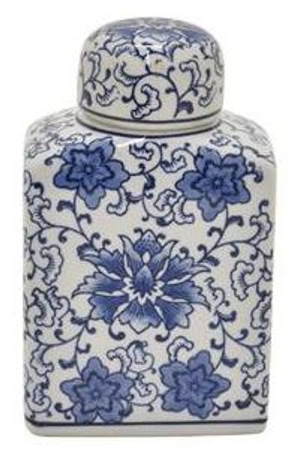 BLUE & WHITE RECTANGLE JAR WITH LID (B)