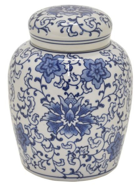 BLUE & WHITE JAR WITH LID - MEDIUM