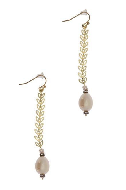 Filigree Drop Pearl Earring - Ivory