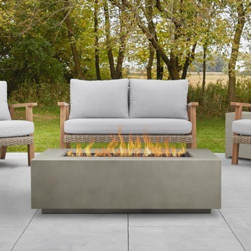 "Rectangular Steel Gas Fire Table 50"" Rectangular - Mist Gray"