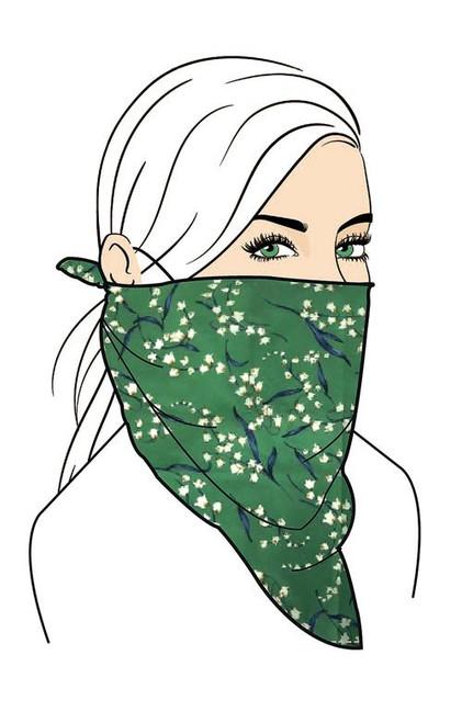 Floral Face Mask Set - Green