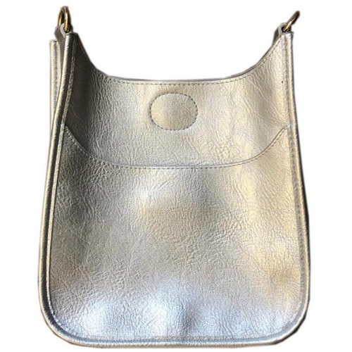 Silver Mini Vegan Messenger Bag