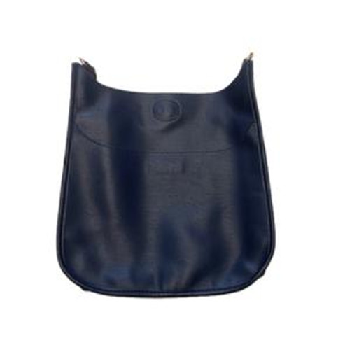 Navy Faux Leather Messenger Bag - Strap Sold Separately