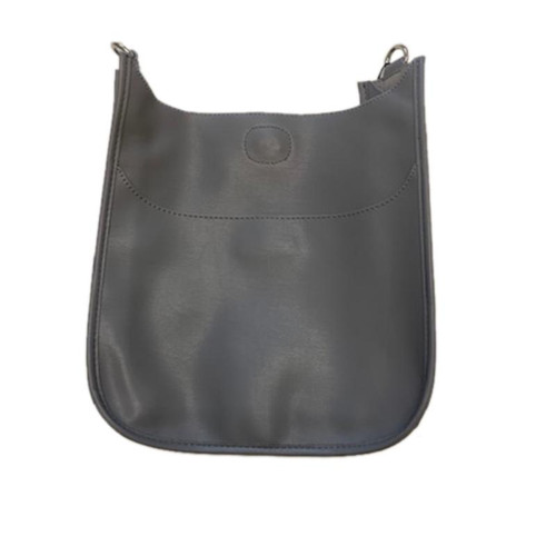 Grey  Faux Leather Messenger Bag - Strap Sold Separately