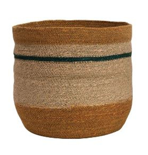 HAND-WOVEN NATURAL SEAGRASS STRIPED BASKET - LARGE
