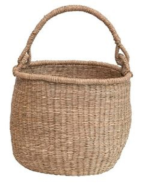TALL HAND-WOVEN SEAGRASS BASKET W/ HANDLE - SMALL
