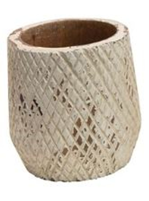 HAND-CARVED MANGO WOOD PLANTER - A