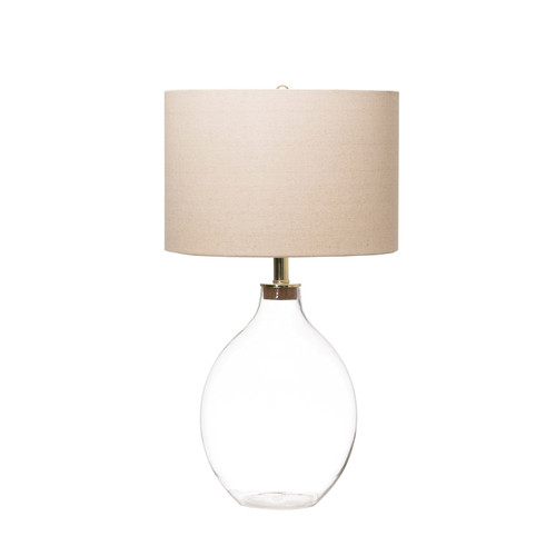 FILLABLE GLASS TABLE LAMP W/ LINENSHADE