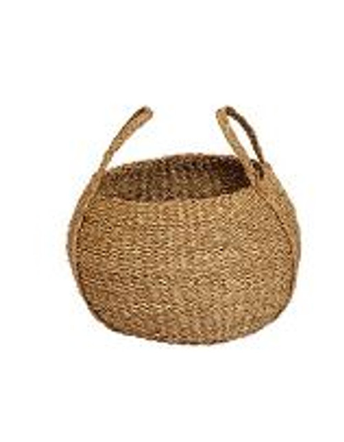 HAND-WOVEN SEAGRASS ROUND BASKET W/ HANDLES - SMALL