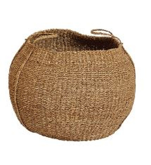 HAND-WOVEN SEAGRASS ROUND BASKET W/ HANDLES - LARGE